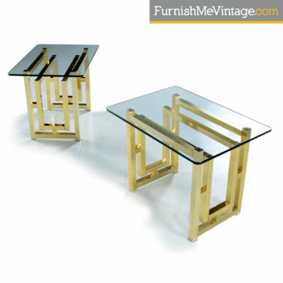 Milo Baughman gold art deco glass top end tables