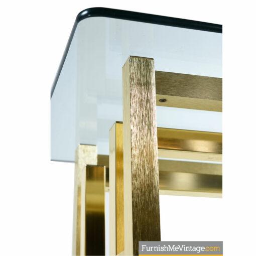 Milo Baughman Gold art deco glass top end tables