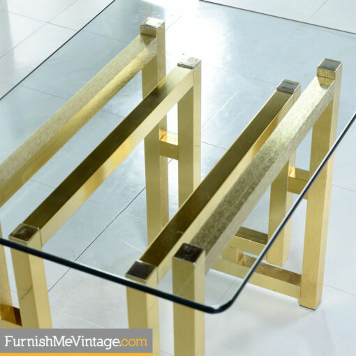 Gold art deco glass top end tables
