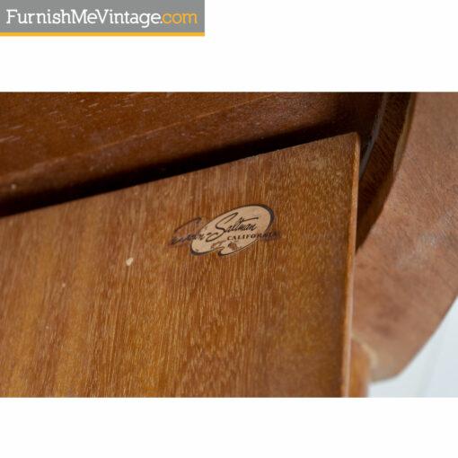 John Keal for Brown-Saltman mid-century modern mahogany drum table
