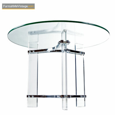 chrome and lucite circular side table