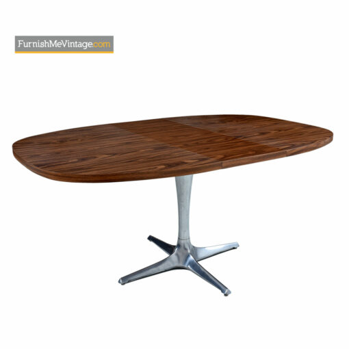 chromecraft Sculpta dining table with walnut pattern Formica top and cast aluminum pedestal base