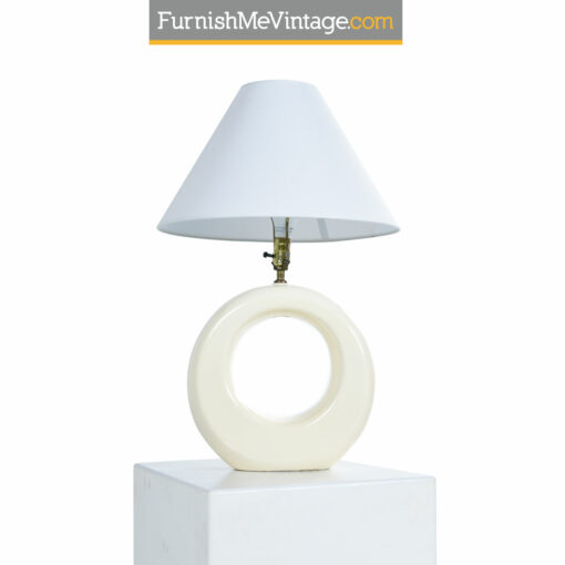 Pierre Cardin white ceramic circular lamp