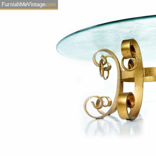 mediterranean coastal gold circular rippled glass coffee table