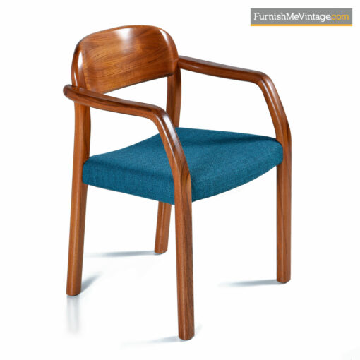 Solid teak Danish armchair with blue seat