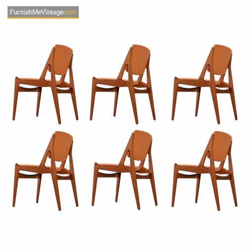 Ella Dining Chairs - Solid Teak Swivel Back Danish Modern Arne Vodder