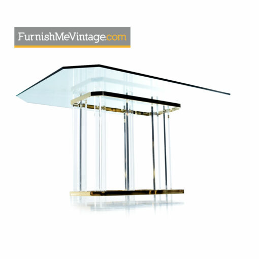 glass gold lucite dining table