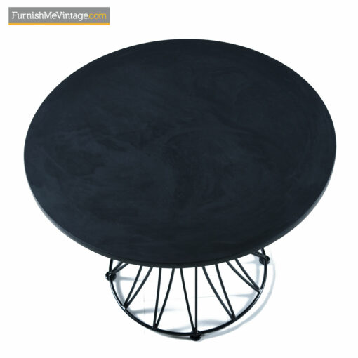 Circular slate top mid-century modern outdoor dining table