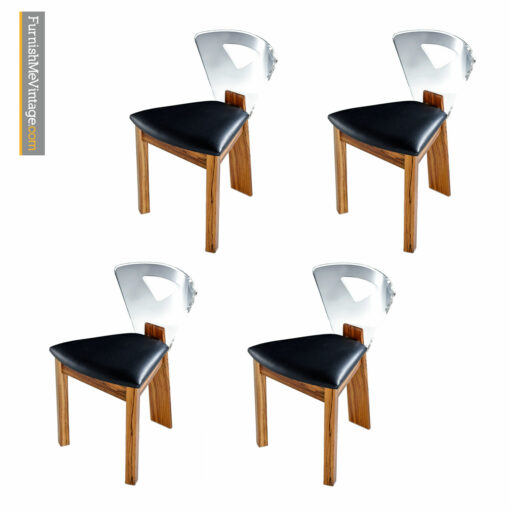 lucite back zebra wood chairs