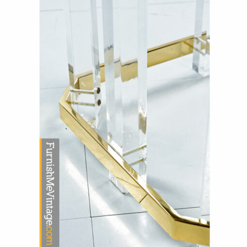 lucite brass dining table