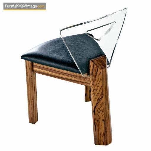 mid century lucite zebra wood chairs