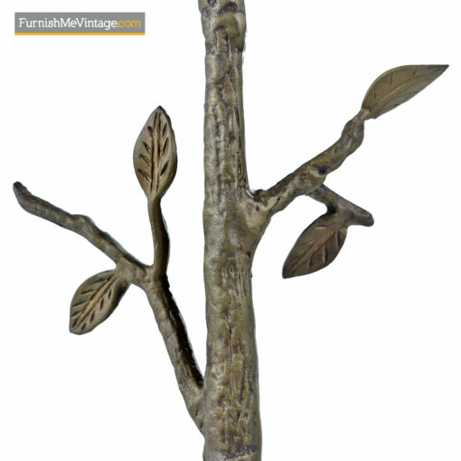 Willy Daro style antique French cast bronze side table emulating a sapling tree with circular glass top