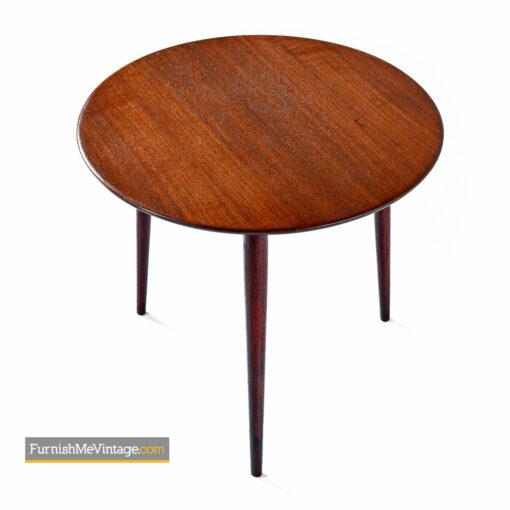 mid-century modern small circular Danish teak end table