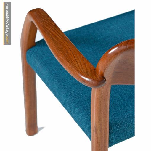 mid-century modern Danish teak chair with blue fabric