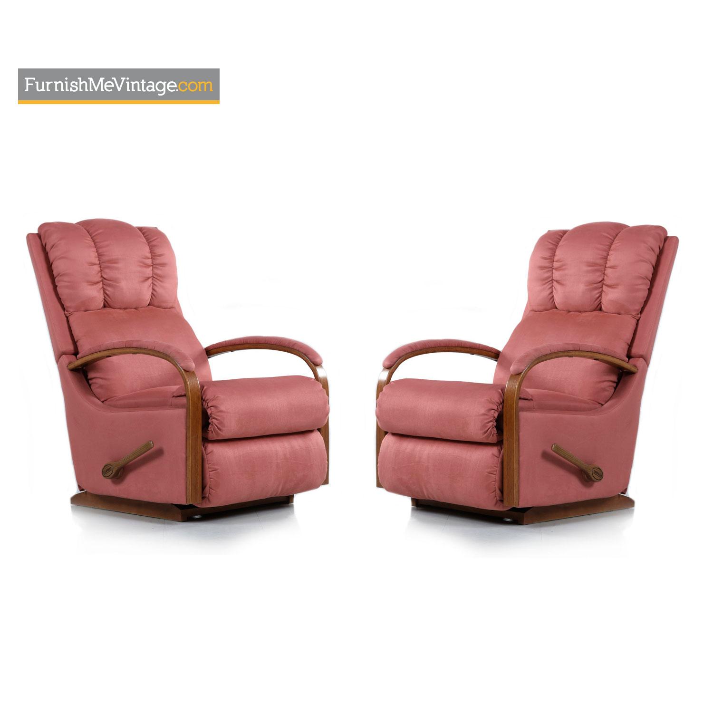 Excellent Vintage La Z Boy Pink Recliners With Oak Arms Ibusinesslaw Wood Chair Design Ideas Ibusinesslaworg