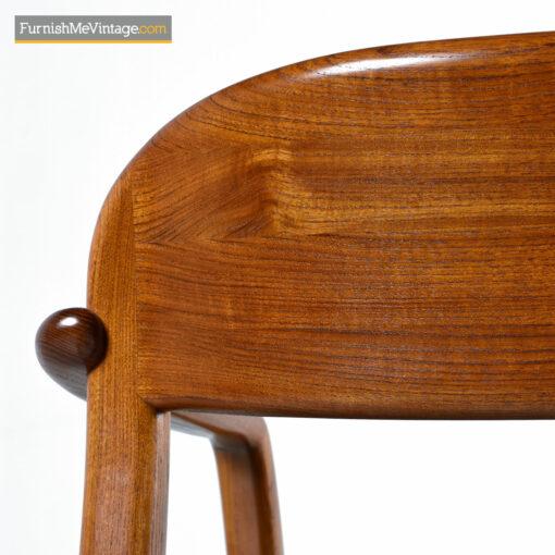 danish teak armchair with blue fabric