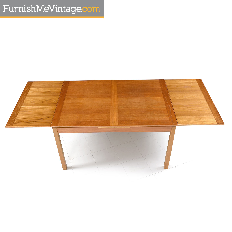 Vintage Danish Teak Dining Table Draw Leaf Expanding Top