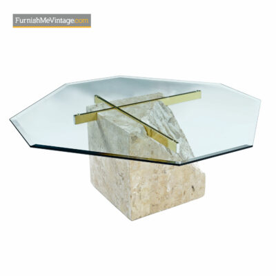 Tessellated Stone Brass Pedestal Coffee Table - Maitland-Smith Style