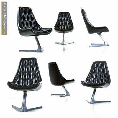 Mid-century modern collectible Chromcraft Sculpta chairs. Sometimes called the unicorn chair, Star Trek chair or V chair. Designed by Vladimir Kagan.