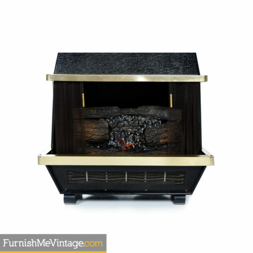 vintage 1960s black wall mounted electric fireplace
