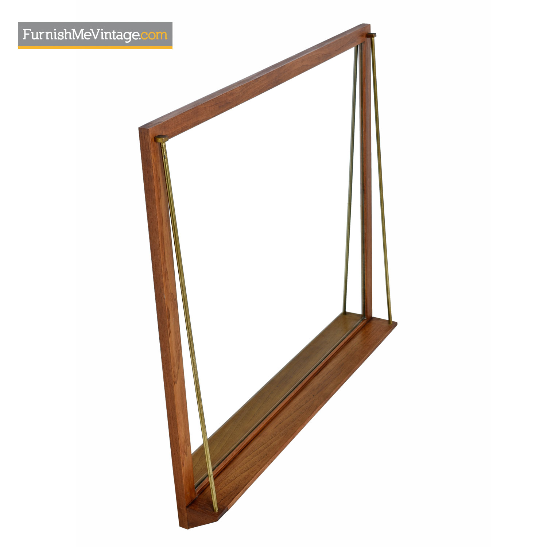 Brass Rod Accented Mid Century Modern Wood Mirror