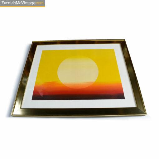 1970s gold frame sunset screenprint