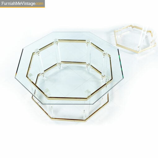 acrylic and gold coffee tables and side table