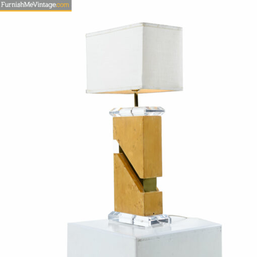 acrylic gold lucite burl table lamp