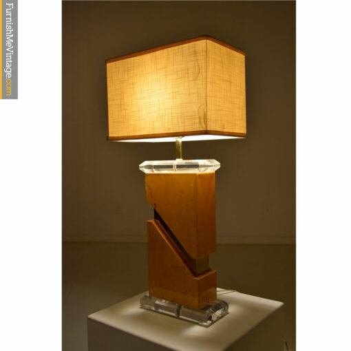 acrylic lucite burl table lamp