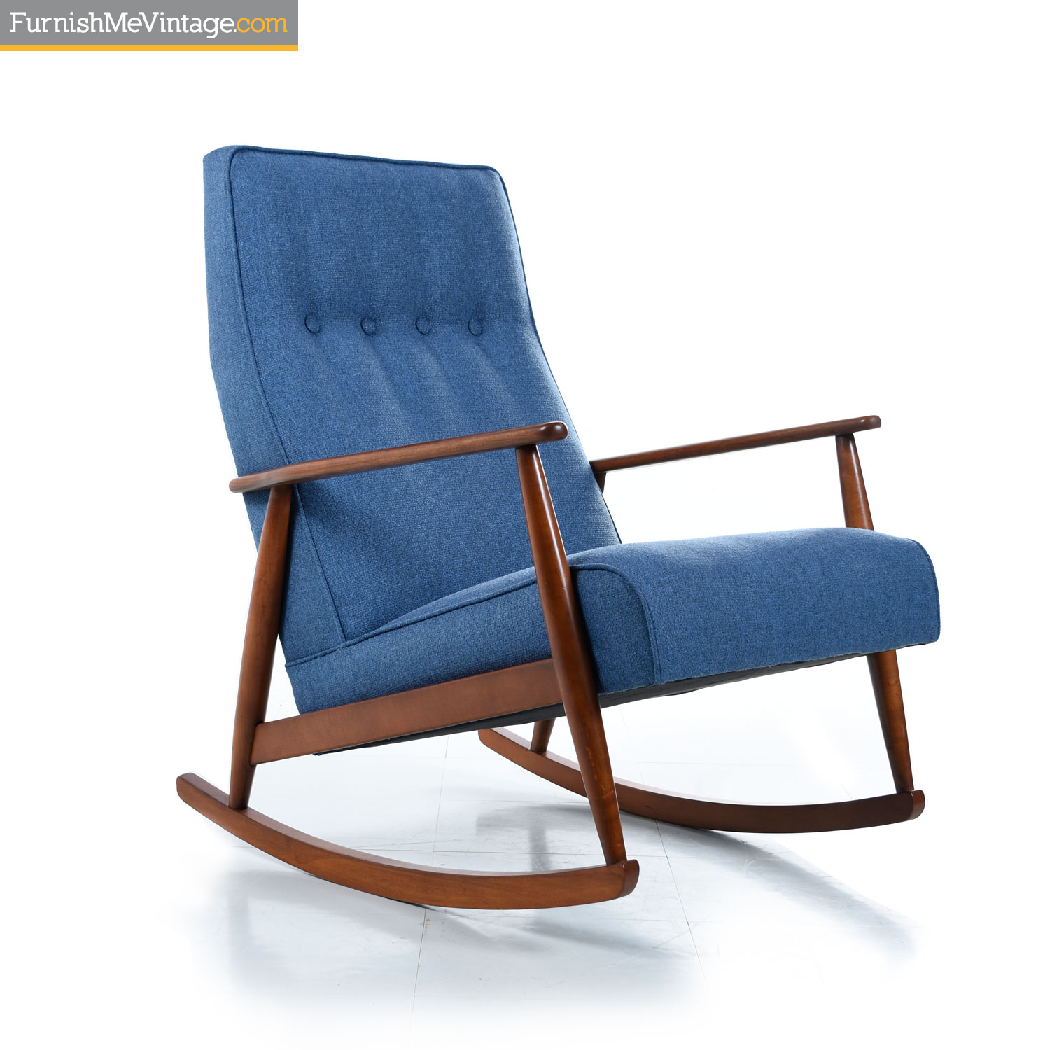 Excellent German Beech Mid Century Modern Blue Rocking Chair Bralicious Painted Fabric Chair Ideas Braliciousco