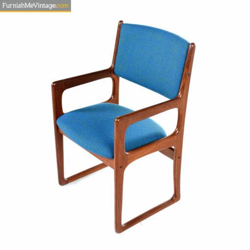 blue green teak arm chair