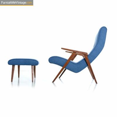 blue mid century modern armchair ottoman