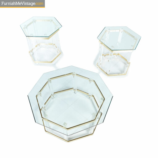 Acrylic, gold and glass hexagon coffee table with end tables