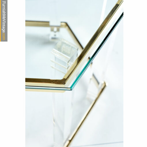 Gold, glass and clear acrylic side table