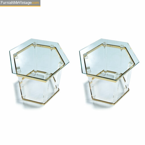 Lucite end tables with glass top and gold spanners