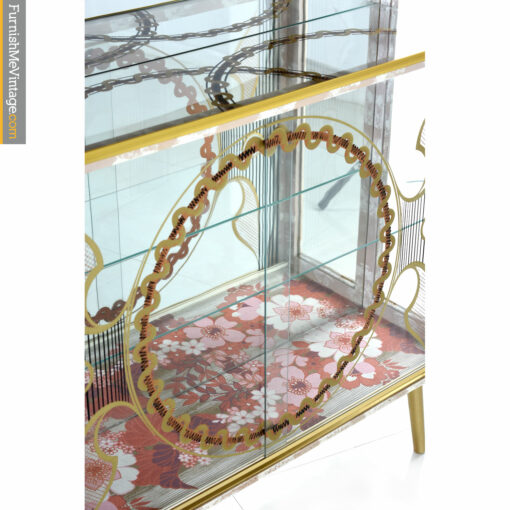 gold painted art deco china cabinet
