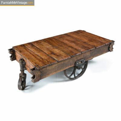 antique industrial rail cart