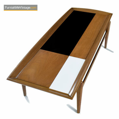 Walnut, black and white mid-century modern coffee table