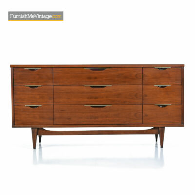 Kent-Coffey Tableau Walnut and Brass Trim Mid-Century Modern Dresser