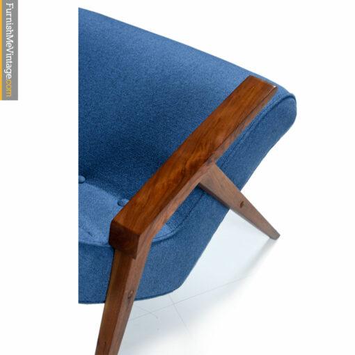 knoll mid century blue chair