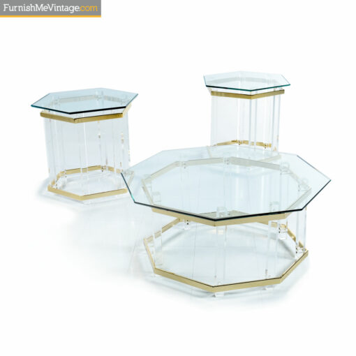 Lucite and gold acrylic glass living room tables