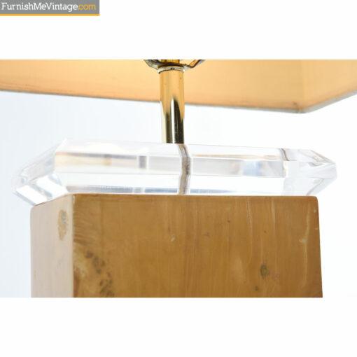 lucite burl table lamp