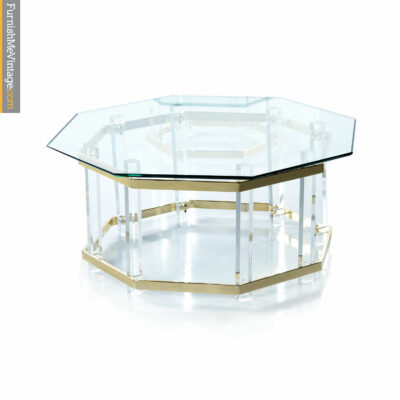 Lucite and gold coffee table with glass hexagon top