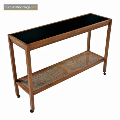 Walnut Sofa Table Server Cart with Two Tier Cane Bottom
