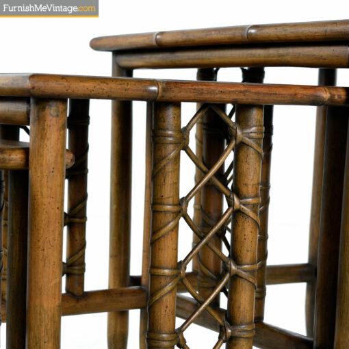 mid century nesting tables bamboo
