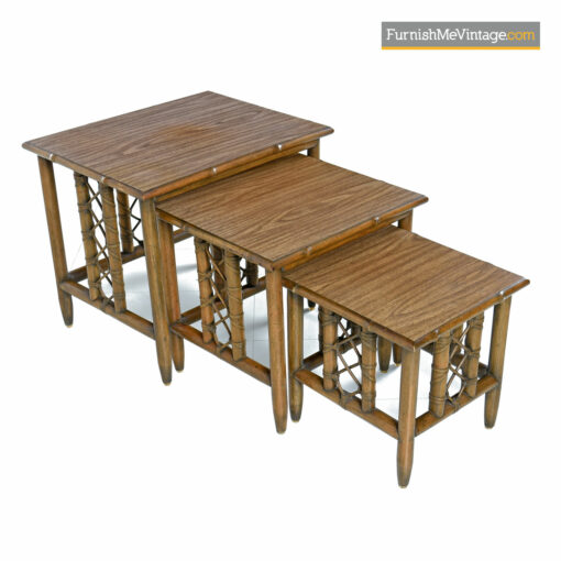 mid-century modern rattan nesting tables