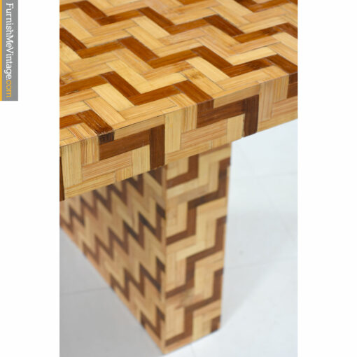 rattan parquet pedestal table