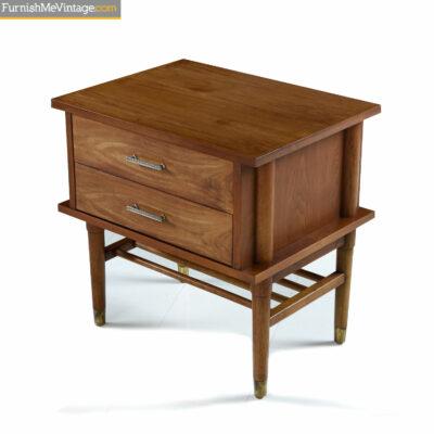 walnut brass mid century modern nightstand