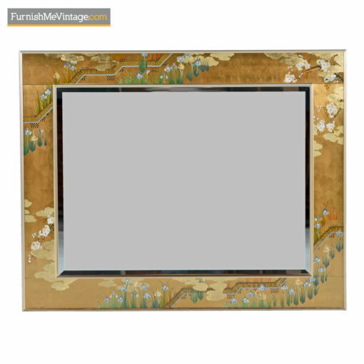Chinoiserie gold leaf brass mirror