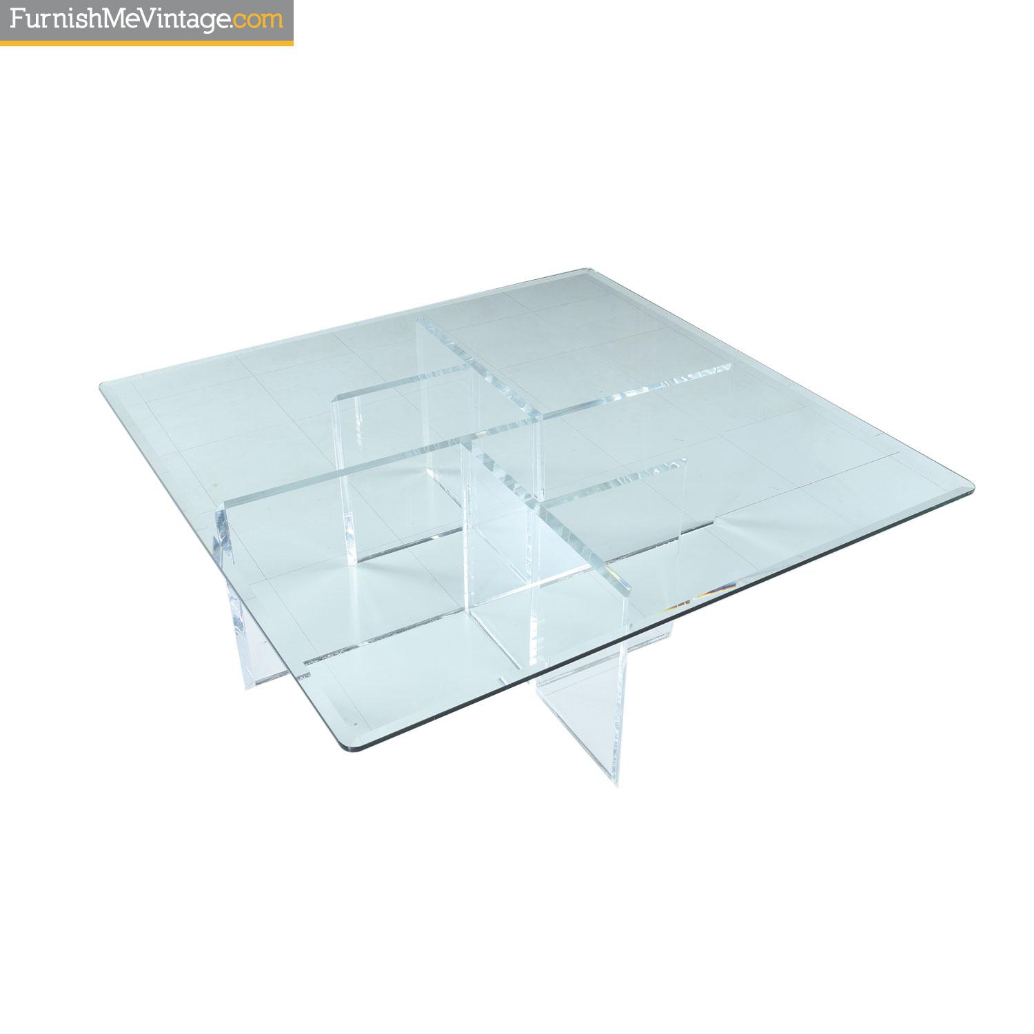 Square Lucite And Gl Coffee Table With Asymmetric Grid Base
